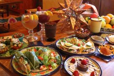 Table of authetic Mexican dishes at Mi Pueblo