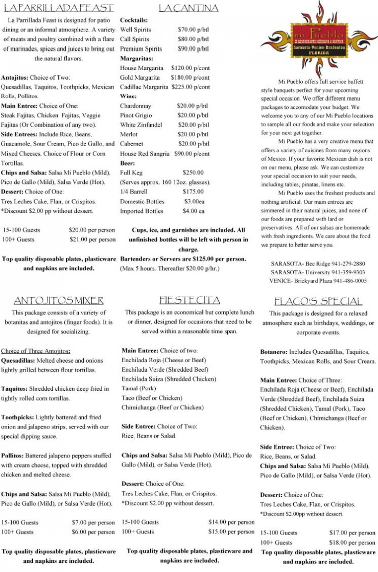 Sarasota Catering Menu